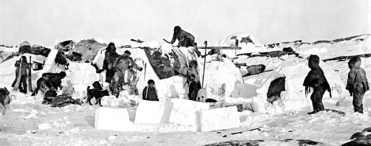 An Inuit camp in Fullerton Harbour in October of 1903 as captured by the Moodies. Photo courtesy of Glenbow Museum.