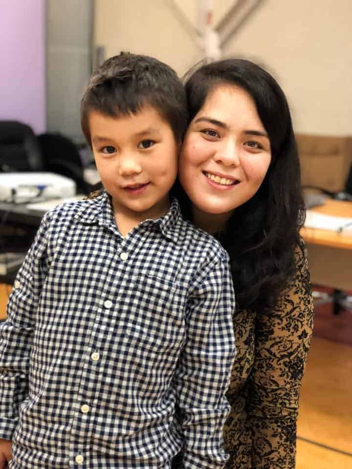 Miranda Qanatsiaq, a third-year college student from Hall Beach, brought her son Izaac as her dinner guest.