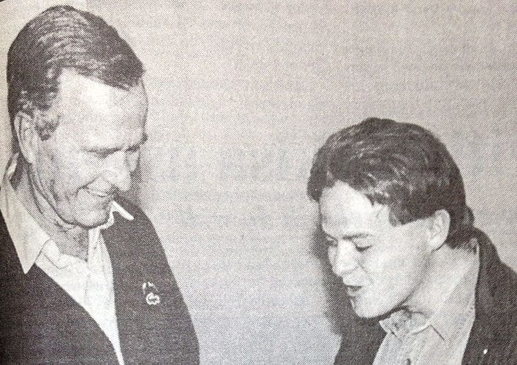 Former Deh Cho Drum editor Art Milnes, right, convinced George H. Bush to write a fishing column for his newspaper after meeting him at the Yellowknife airport in 1997. The column was published in the Sept. 4 edition. NNSL file photo