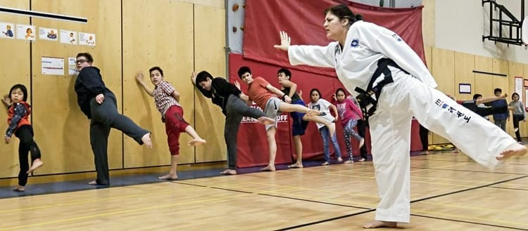 Instructor Joanne Peters puts her students through their paces during a gathering of the new taekwon-do club in Arviat on March 2, 2019. Photo courtesy Gord Billard