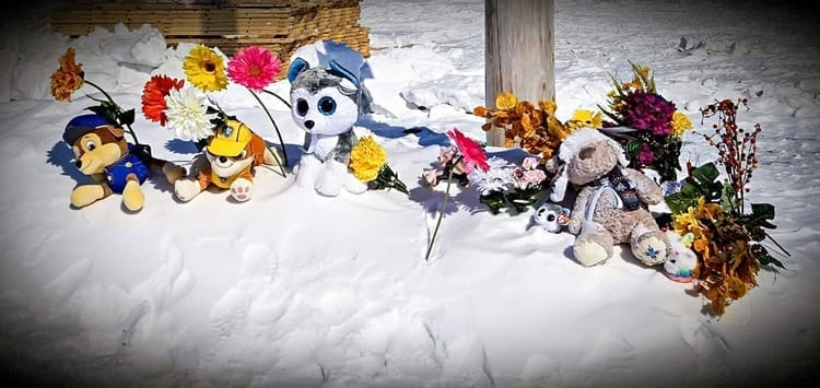 A memorial was set-up near Itivia by Amanda Ford to honour the memory of Lynnora Siusangnark, 33, who was found dead in Rankin Inlet on April 26. Photo courtesy Amanda Ford